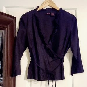 Black linen wrap blouse